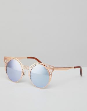 Quay Australia Солнцезащитные очки кошачий глаз с вырезами. Цвет: розовый