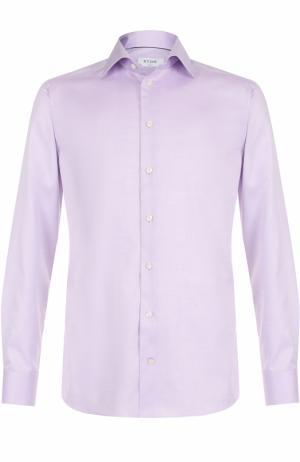 Хлопковая сорочка с воротником кент Eton. Цвет: сиреневый