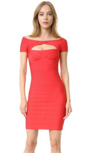 Платье Laurel с открытыми плечами Herve Leger. Цвет: коралловый мак