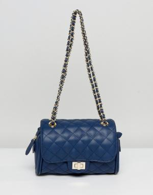 Marc B Маленькая стеганая сумка через плечо Knightsbridge. Цвет: темно-синий