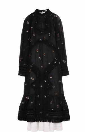 Приталенное платье-миди с объемными рукавами Erdem. Цвет: черный