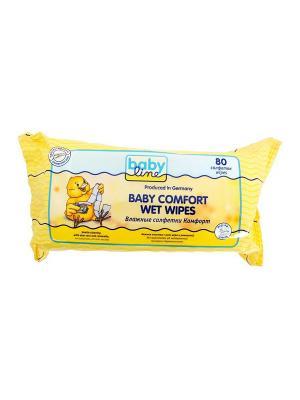 Влажные салфетки Комфорт, 80 шт. Babyline. Цвет: желтый
