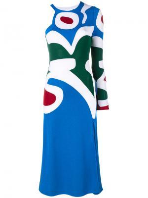 Трикотажное платье с узором интарсией Esteban Cortazar. Цвет: синий