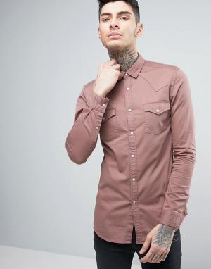 ASOS Розовая приталенная джинсовая рубашка в стиле вестерн. Цвет: розовый
