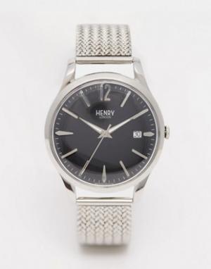 Henry London Серебряные наручные часы с плетеным дизайном ремешка Edge. Цвет: серебряный