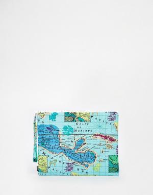 Echo Клатч с картой Мехико. Цвет: бирюзовый