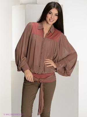 Блузка Nolita. Цвет: коричневый