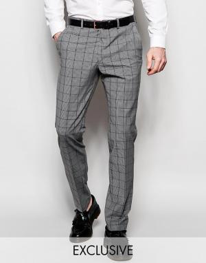 Number Eight Savile Row Эластичные брюки скинни в мелкую клетку. Цвет: серый
