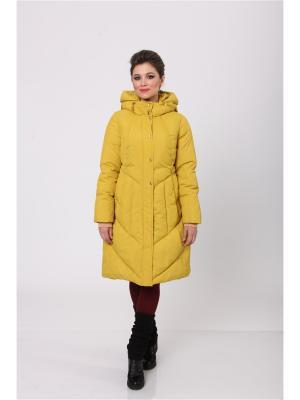 Стеганое пальто D`imma. Цвет: горчичный