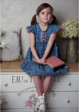 Платье Lucky child. Цвет: синий/розовый