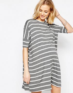 ASOS Maternity Платье-футболка в полоску для беременных. Цвет: мульти