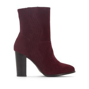 Сапоги кожаные с волнообразной прострочкой La Redoute Collections. Цвет: бордовый,черный
