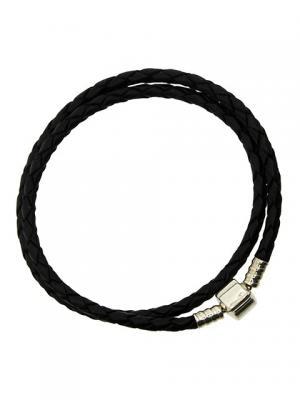 Браслет кожаный 34 см черный Sun&Moon Charm. Цвет: серебристый