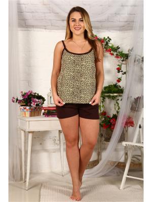Пижама ARKADY. Цвет: темно-коричневый, темно-бежевый