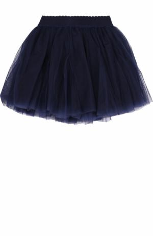 Многослойная юбка с эластичным поясом Monnalisa. Цвет: темно-синий