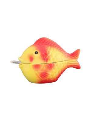 Икорница Золотая рыбка Elan Gallery. Цвет: желтый, красный