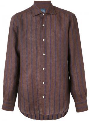 Рубашка с вышивкой в полоску Barba. Цвет: коричневый