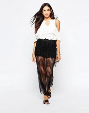 Goldie Кружевная юбка макси Lost Lead. Цвет: черный