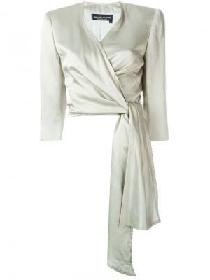 Укороченный пиджак с запахом Jean Louis Scherrer Vintage. Цвет: серый