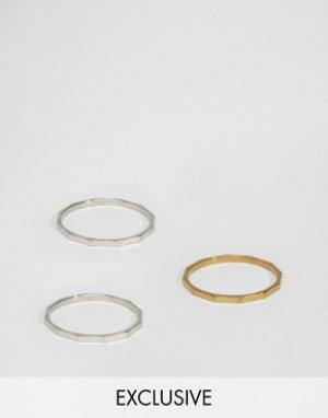Reclaimed Vintage 3 кольца со скошенными гранями. Цвет: мульти