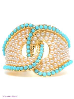 Кольцо Infiniti. Цвет: бирюзовый, золотистый, белый
