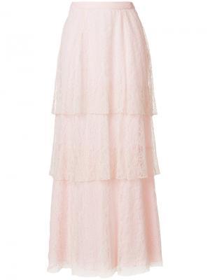Длинная кружевная юбка Dondup. Цвет: розовый и фиолетовый