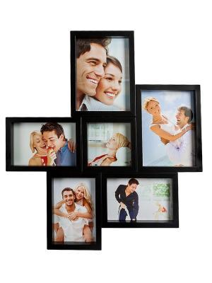 Фоторамка настенная Семейный коллаж на 6 фото Bellezza casa. Цвет: черный