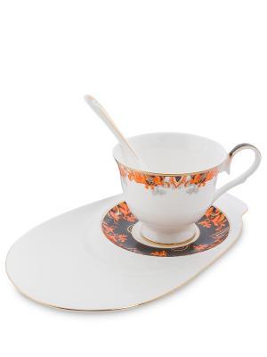 Чайная пара Риомаджоре (Riomaggiore Pavone) Pavone. Цвет: белый,оранжевый