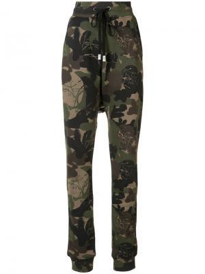 Спортивные брюки с камуфляжным узором Haculla. Цвет: зелёный