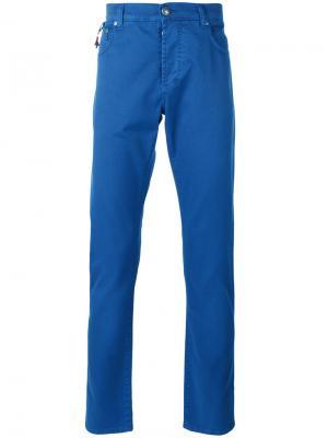 Классические брюки-чинос Isaia. Цвет: синий
