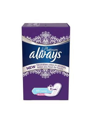 Ежедневные гигиенические прокладки на каждый день Platinum Collection Deo Normal, 50шт. Always. Цвет: синий