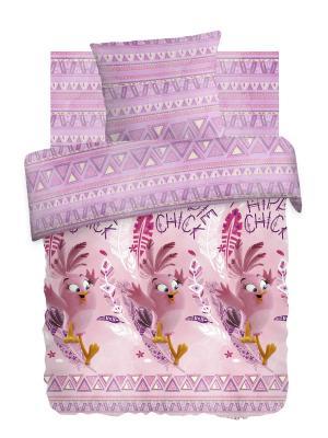 Комплект постельного белья 1,5 бязь Стелла Angry Birds.. Цвет: розовый, белый