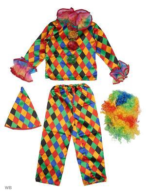 Карнавальный костюм Арлекино Батик. Цвет: синий, желтый, зеленый