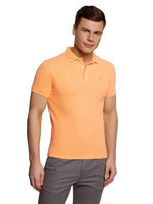 Футболка-поло Oodji. Цвет: оранжевый