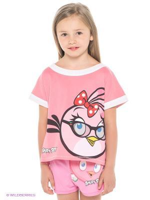Футболка ANGRY BIRDS. Цвет: розовый