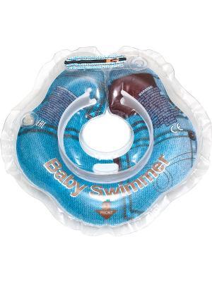 Круг на шею для детей от 0 до 12 кг Джинса Baby Swimmer. Цвет: голубой