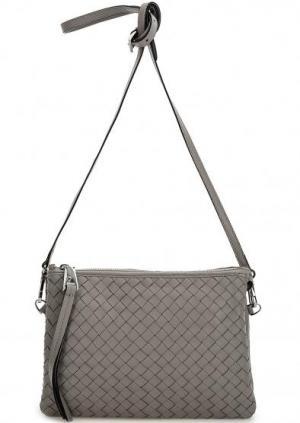 Маленькая плетеная сумка через плечо Abro. Цвет: серый