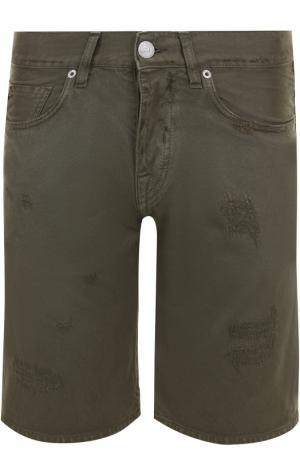 Джинсовые шорты с потертостями 2 Men Jeans. Цвет: хаки