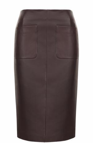 Кожаная юбка-миди с карманами Escada. Цвет: бордовый