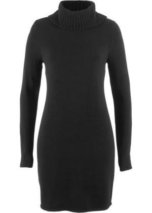 Вязаное платье с длинным рукавом и высоким воротником (черный) bonprix. Цвет: черный