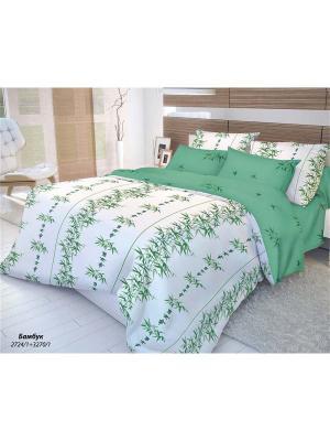 Комплект постельного белья 2,0-сп, ВОЛШЕБНАЯ НОЧЬ, ранфорс 70*70см, стиль-Восток, Бамбук ночь. Цвет: зеленый, белый