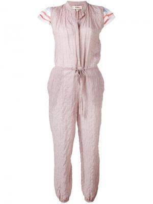 Полосатый комбинезон с рюшами Lemlem. Цвет: розовый и фиолетовый