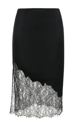 Шерстяная юбка-миди с кружевной вставкой Alice + Olivia. Цвет: черный