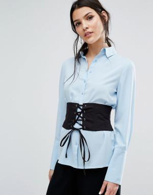 Neon Rose Рубашка бойфренда с корсетом на талии. Цвет: синий