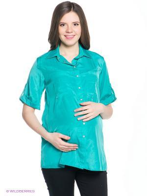 Рубашка EUROMAMA. Цвет: бирюзовый