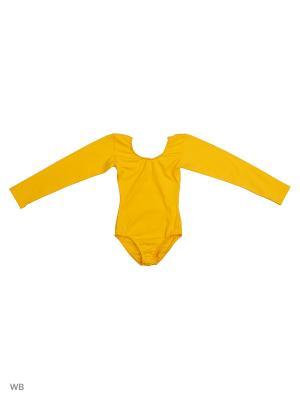 Гимнастический купальник Танцевальный Мир. Цвет: желтый