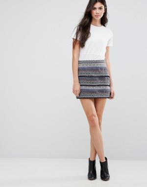 Greylin Фактурная юбка Hina. Цвет: синий