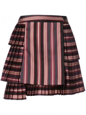 Полосатая плиссированная юбка Zimmermann. Цвет: чёрный