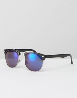 Jeepers Peepers Солнцезащитные очки в стиле ретро с синими стеклами. Цвет: черный