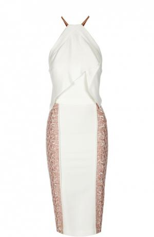 Облегающее платье с разрезом и декоративной отделкой Roland Mouret. Цвет: розовый